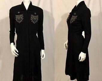 Back to School Sale Vintage 1930s Black Dress, Black Wool Dress, Beaded,