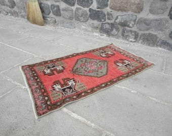 Turkish Vintage Small Size Rug,hand Woven Small Carpet,door Mat,bath Room