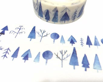 tree washi tape 7M blue trees forest tree Masking tape blue scenes blue tape blue world christams tree landscape sticker tape decor gift