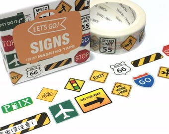 traffic signs road symbols washi tape 7M highway code road signs street sign Warning signs cool sign icon sticker tape road symbol label