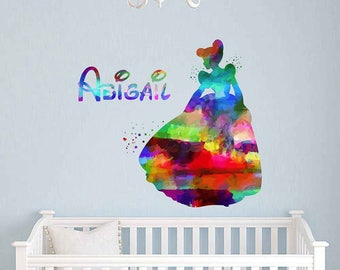 Cinderella Wall decal Personalized Girl Name Wall Decal Cinderella Vinyl Wall Nursery Decor Cinderella Decal Girls Room Decor kcik2048