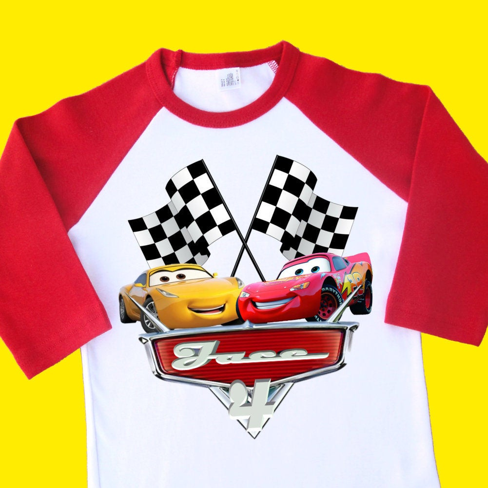 Cars Lightning McQueen Birthday Shirt Personalized Raglan With Name Age 1st 2nd 3rd