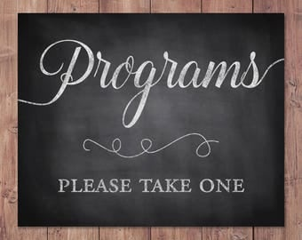 Wedding programs sign - programs please take one - rustic wedding program sign - program sign - PRINTABLE - 5x7 - 8x10
