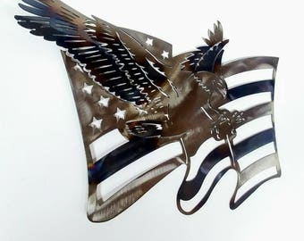 American Eagle USA Flag Metal Art For Torched