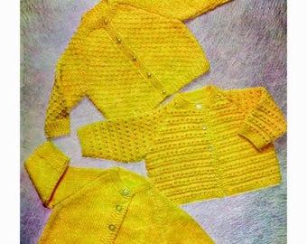 Vintage 'Hayfield 440' baby knit coats pattern in pdf