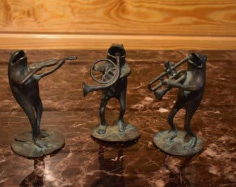 Vintage Brass Musical Frogs