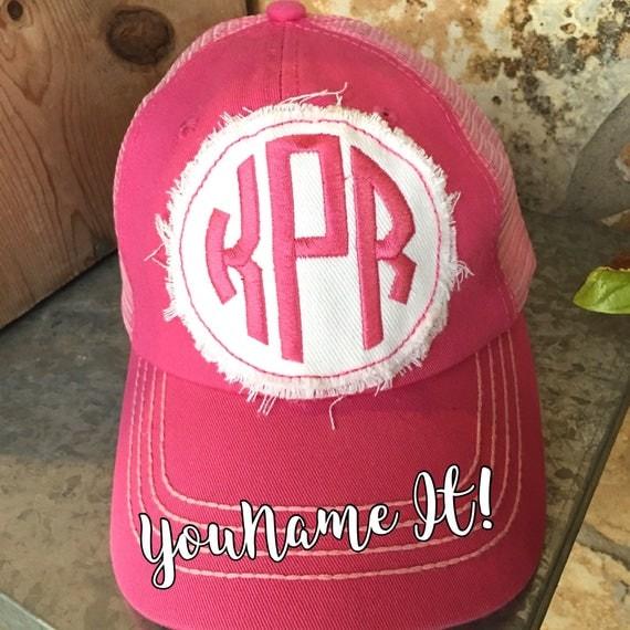 Circle Monogram Pink Patch Baseball Trucker Cap