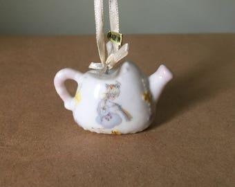 White Ceramic Miniature Tea Pot Ornament Shadow Box