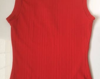 Vintage Bright Red/Orange Sleeveless High Neck Top/Tank