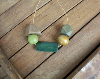 Geometric Necklace, Wood Necklace, Geometric Wood Bead Necklace, Wood Bead, Handmade, Geometric Shapes, Necklace, Wooden Beads