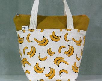 20% OFF [ Orig. 19.99 ]  Banana Lunch bag, Waterproof tote, Canvas Lunch bag, Reusable Lunch bag, Handmade bag, Tote, Gift