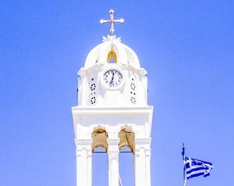Greece Photography Print - Clocktower - Greek Flag - Fine Art Photography - Santorini - White - Blue - Neutral - Greek Clocktower  - 0171