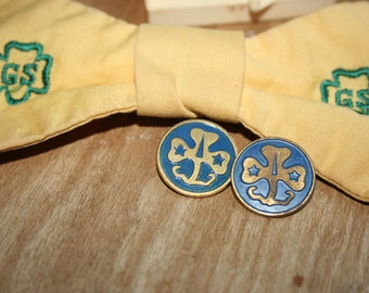 Girl Scout Tie and Pair of Girl Scout Pins, 1970's, Vintage Girl Scout