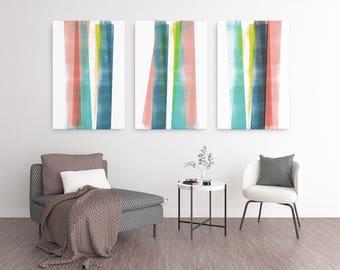 Abstract Art, Oversized Wall Art, Large Canvas Art, Colorful Wall Art, Triptych Wall Art Set of 3 Prints, Scandinavian Print, Geometric Art