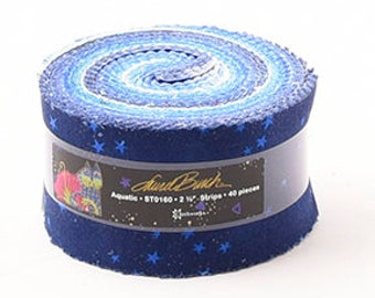 """Laurel Burch Aquatic Jelly Roll with Metallic Accents 40 2.5"""" strips ST0160 blue cotton precut quilting fabric material"""