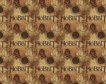 Brown The Hobbit Logo Digitally Printed from Camelot Fabrics 242100005-1 cotton fabric by yard metre quilting camelot lotr