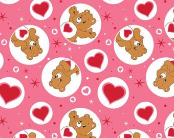 Pink Care Bears Tenderheart Bear Cotton fabric from Camelot Fabrics 44010109-1 America Greetings fabric by yard metre quilting licensed