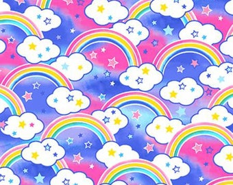 Multi Rainbows Anti-Pill Fleece Fabric from Baum polyester kids girls by the yard metre WFP43428-2 pink purple clouds stars