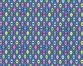 Tula Pink Tabby Road Cat Eyes in Blue Bird PWTP095.BLUEB blue pink and green geometric cotton fabric quilting cotton freespirit