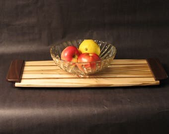 Exotic Wood, Serving Tray, Gift made from Spawled Maple, Inlays, and Walnut Handles Item: T187