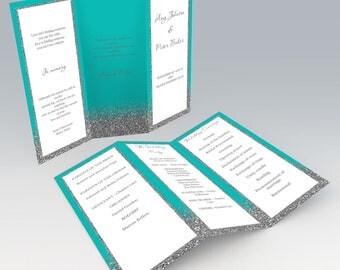 Tri-fold Wedding program templates, Tiffany Blue Wedding Program, Instant download, Printable wedding program, code-048-2