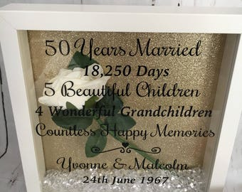 Personalised Golden Wedding Anniversary  Frame With Gold Glitter Backing