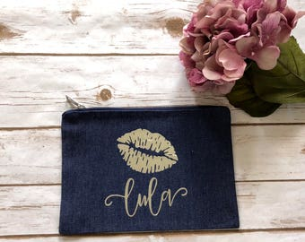 days personalized makeup bag denim for bridesmaid proposal custom bride clutch bridal party Gift Bag Tote Galentine's day