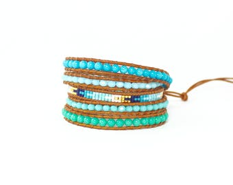 Blue Green mix Beaded Leather Wrap Bracelet,Beaded Leather Bracelet,Boho Beaded Wrap Bracelet,Boho Beaded Bracelet,Beaded bracelet for Woman