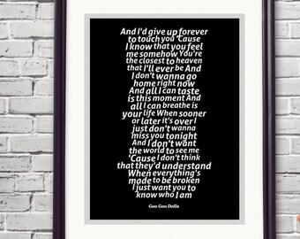 Iris Goo Dolls Lyrics Love Song Wall Art