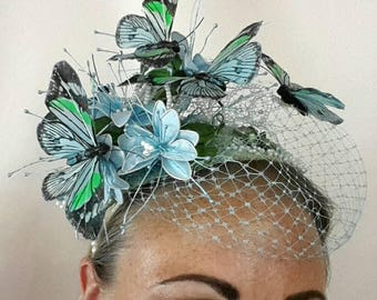 Blue and Green with butterfly and pearl detail Fascinator