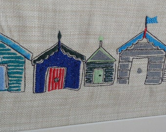Beach Hut Art, Embroidered Picture
