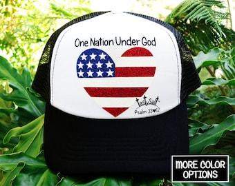 One Nation Under God USA Flag Trucker Hat / Americana, Christian hat, stripes, women's hat, women's trucker hat, Christian trucker hat