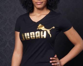 Judah Jump T-Shirt Gold on black Women Cut