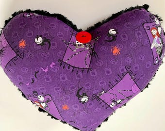 Jack and Sally Heart Pillow for the Nightmare Before Christmas fans.