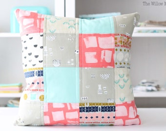 Quilted Pillow Cover - Pink, Aqua, Beige - Girl's Bedroom Decor - Throw Pillow - 18 by 18 inch Pillow Cover - Patchwork - Cotton + Steel