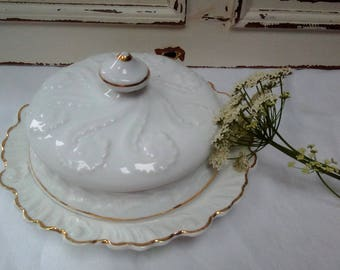 Vintage Ceramic china serving plate and cover/cheese dome/platter/serving/kitchen/dresser