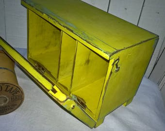 Vintage first aid/letter/stationary box in English Yellow