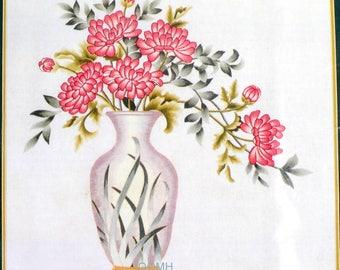 Elsa Williams Chrysanthemum Vase Crewel Kit Michael A LeClair Metallic Threads