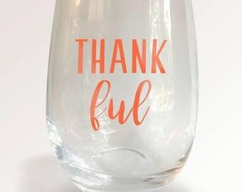 Thankful Stemless Wine Glass - Fall Theme Glass