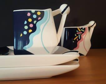 Kato Kogei for Fujimori Japan - Ultima Snack Plates and Mugs - Memphis Movement - Sottsass Era- 1980s