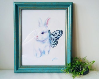 Custom made Watercolor Pet Portrait With Just Fit Frame