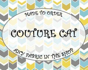 COUTURE CAT - 1 Cat Collar and 2 Accessories Made to Order From Any Fabric in the Shop