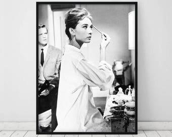Audrey Hepburn Wall Art • Black and White Photography Prints Audrey Hepburn Print Poster Audrey Hepburn Photo makeup breakfast at tiffanys