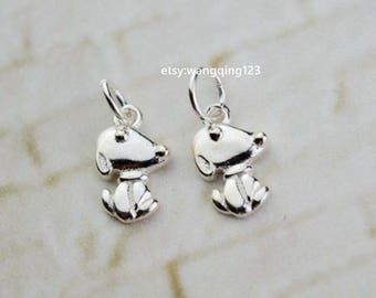 2 pcs sterling silver puppy dog charm pendant  , YX3