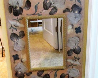 Framed MIRROR FLORAL/BEIGE Decor