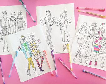 Printable Fashion Coloring Pages, tween slumber party activity,  girls birthday party activity, tween girls-instant printable