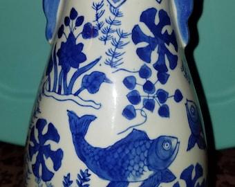 Vintage blue white carp vase seymore mann chinese porcelain *REDUCED*