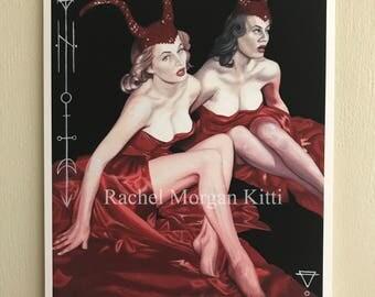 The Devil is in Her, Vintage, Old Hollywood, Devil, Portrait, Anita Ekberg, Halloween, Occult, Geometric, Sacred Geometry, She Devil, Demon