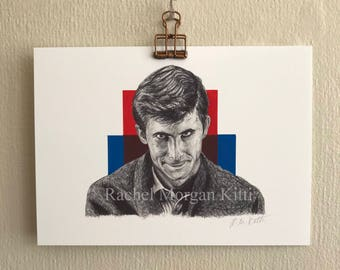 Norman Bates, Psycho, Anthony Perkins, Alfred Hitchcock, horror, art print, print, old hollywood, vintage, creepy,