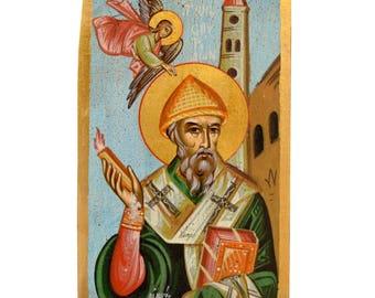 Orthodox Icon Byzantine Icon Religious Icon Saint Spyridon Christian Icon 30,0x18,0cm
